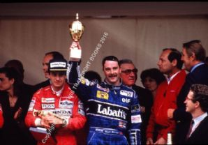 Nigel Mansell & Ayrton Senna with Ron Dennis and J-M Balestre. Monaco Royal Box 1991